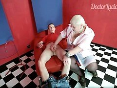 Big mature blonde almost gags on a nice-sized piece of meat