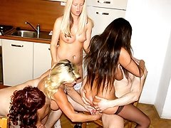 Four horny sluts do one lucky dude