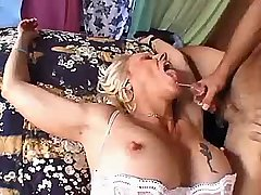 Blond aged mature fucks in all holes n gets facial