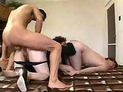 Nasty old whore arranges kinky gangbang in cheap hotel