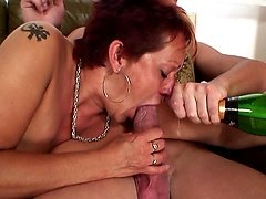 Slutty old lady fucked by two