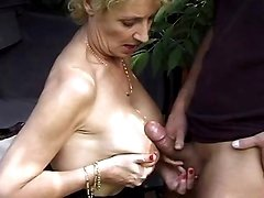 Old whore having fun in fresh air