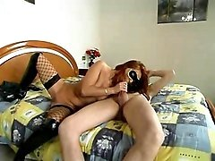 Masked fetish milf trains her mouth