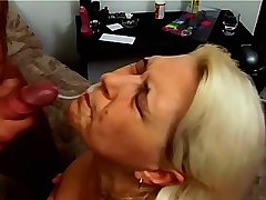 Blonde chubby mature getting facial after hot fuck