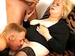 Blond granny in threesome