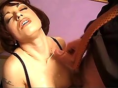 Beauty milf sucks three cocks and gets cum on tits
