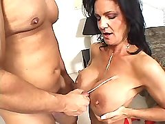 Mature gets cumshot on tits after sex in all holes
