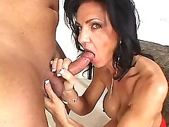 Hot mature in red stockings gets fuck in all holes
