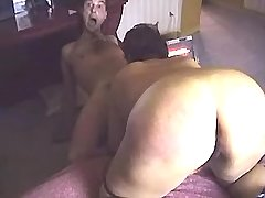 Mature grandmother licks cock and ass of young man