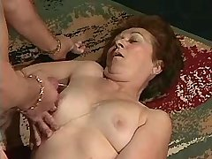Grandma jumps on cocks and gets cumshot on tits