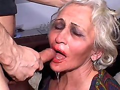 Depraved granny fucks from behind and does blowjob