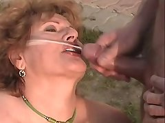 Chubby elder mature gets facial after orgy outdoor