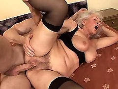 Depraved grandmom sucks cock and fucks from behind
