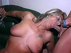 Blond aged mature sucks cock and gets oral in orgy