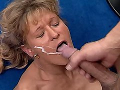 Cute mature fucks in all positions and gets facial