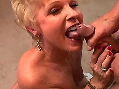 Chubby blond mature fucks on floor and gets facial
