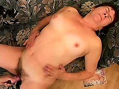Aged mature sucks cock and gets dildo in old cunt