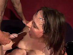 Chubby mature gets facial after fuck in diff poses
