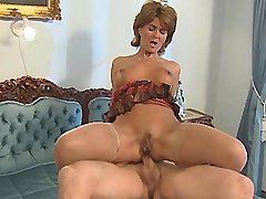 Elder mature does hot blowjob and jumps on cock