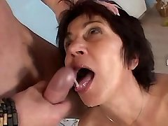 Aged mature jumps on cock and gets fresh facial