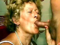 Granny sucks older cock on kitchen