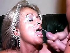 Plump granny gets cumload by guys