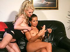 Hot MILF straponed by sons gf